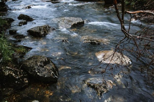 Rivierwater dat door rotsen in het bos stroomt