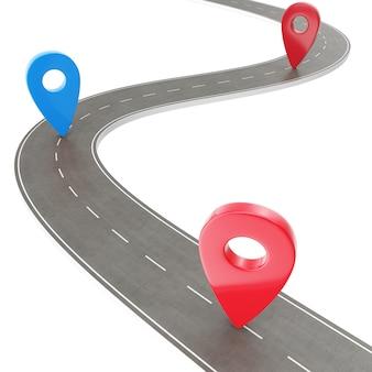 Roadtrip en reisroute. kronkelende weg op een witte achtergrond met pin pointer. weg manier locatie infographic sjabloon met pin aanwijzer, 3d-rendering