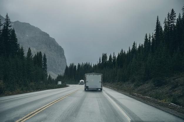 Roadtrip met auto rijden in dennenbos met rotsachtige bergen