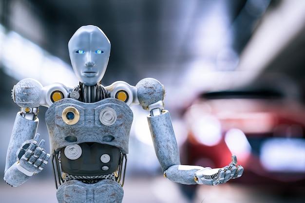 Robot cyber toekomst futuristische humanoïde auto, auto, auto auto check fix in garage industrie inspectie inspecteur verzekering onderhoudsmonteur reparatie robot service technologie