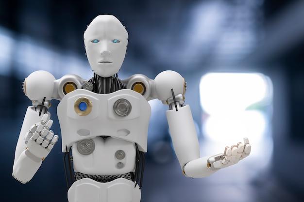 Robot cyber toekomst futuristische humanoïde auto, auto, automotive auto check fix in garage industrie inspectie inspecteur verzekering onderhoud monteur reparatie robot service technologie 3d-rendering