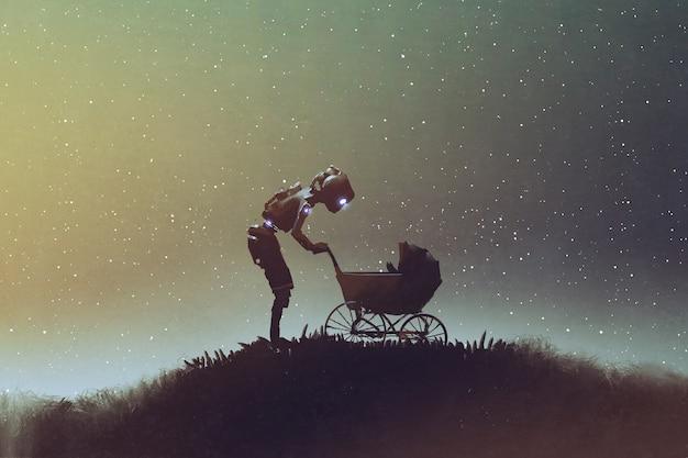 Robot die baby in een wandelwagen bekijkt