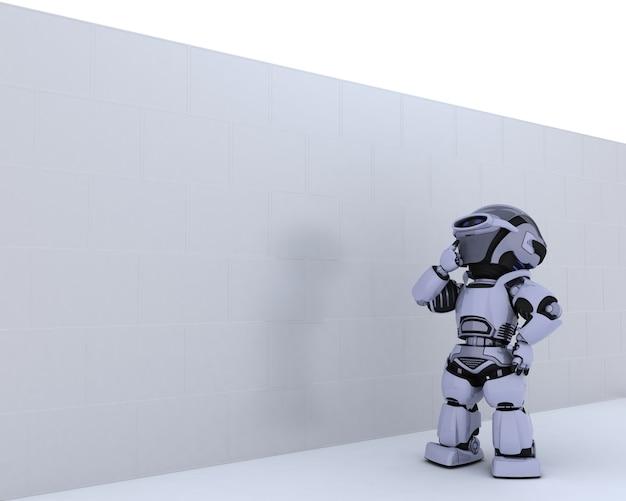 Robot die pensively een witte muur bekijkt