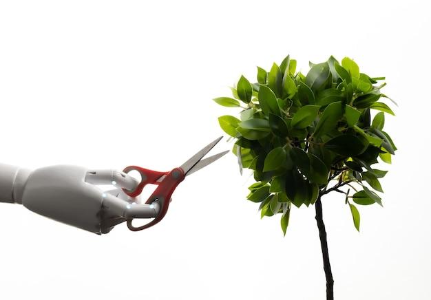 Robot hand houden schaar trimmen plant geïsoleerd op wit