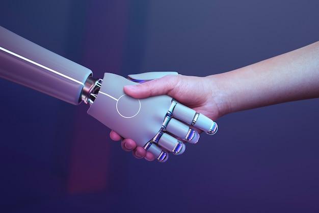 Robot handdruk menselijke achtergrond, futuristisch digitaal tijdperk