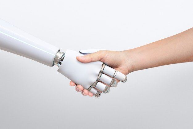 Robot handdruk menselijke achtergrond, kunstmatige intelligentie digitale transformatie