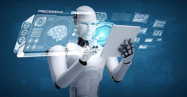 Robot humanoïde die tabletcomputer gebruikt in concept van ai-denkend brein