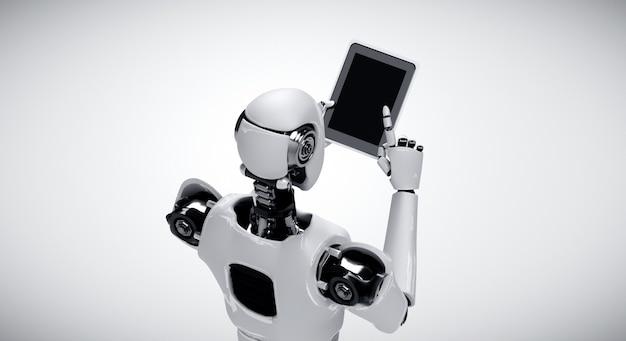 Robot humanoïde die tabletcomputer gebruikt in toekomstig kantoor