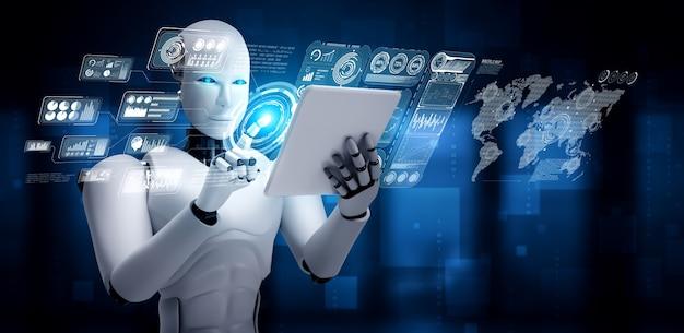 Robot humanoïde die tabletcomputer gebruikt voor analyse van big data