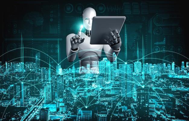 Robot humanoïde die tabletcomputer gebruikt voor wereldwijde netwerkverbinding