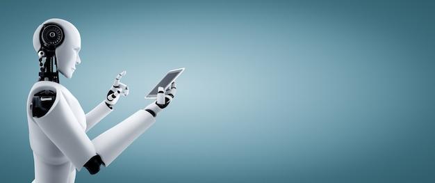 Robot humanoïde gebruik mobiele telefoon of tablet in toekomstig kantoor