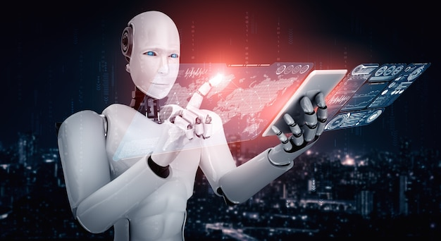 Robot humanoïde gebruik mobiele telefoon of tablet voor analyse van big data