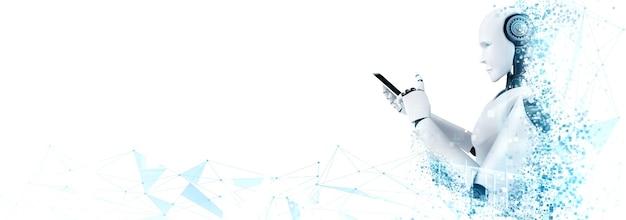 Robot humanoïde gebruik mobiele telefoon of tablet voor wereldwijde netwerkverbinding