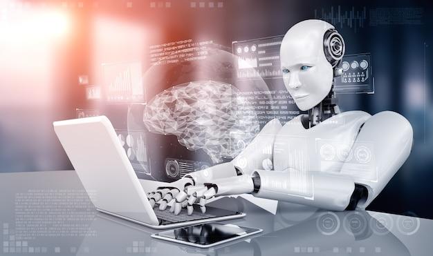 Robot-humanoïde gebruikt laptop en zit aan tafel in concept van ai-denkende hersenen