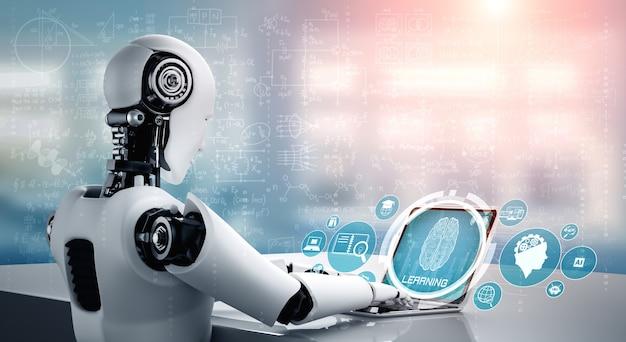 Robot-humanoïde gebruikt laptop en zit aan tafel in het concept van ai-denkend brein