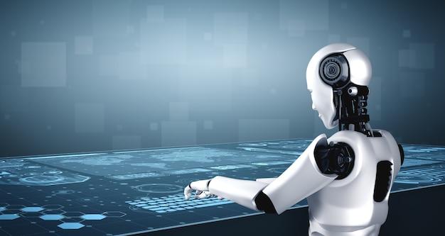 Robot-humanoïde gebruikt laptop en zit aan tafel in toekomstig kantoor terwijl hij ai-denkhersenen gebruikt