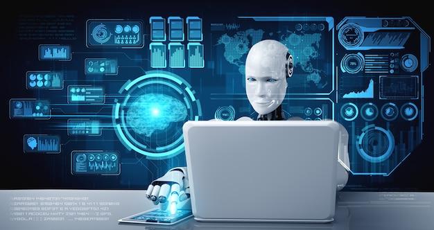 Robot-humanoïde gebruikt laptop en zit aan tafel voor analyse van big data