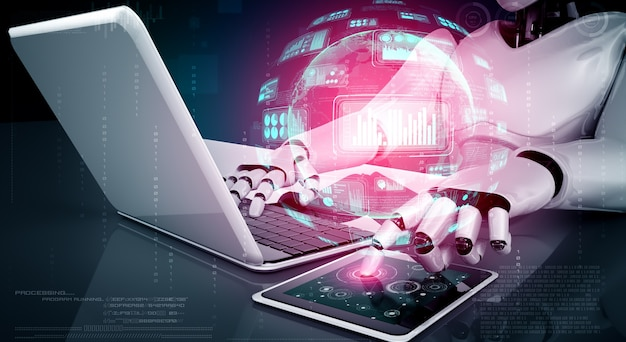Robot-humanoïde gebruikt laptop en zit aan tafel voor big data-analyse met behulp van ai-denkbrein