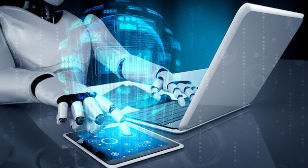 Robot-humanoïde gebruikt laptop en zit aan tafel voor big data-analyse