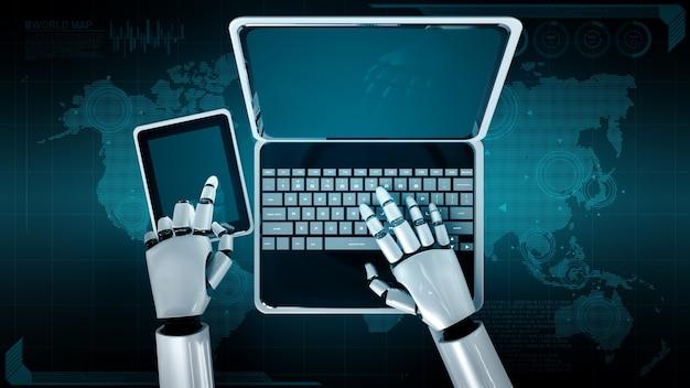 Robot humanoïde gebruikt laptop en zit aan tafel voor wereldwijde netwerkverbinding
