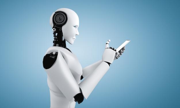 Robot-humanoïde gebruikt mobiele telefoon of tablet in toekomstig kantoor