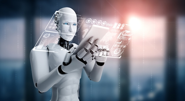 Robot-humanoïde gebruikt mobiele telefoon of tablet voor big data-analyse met behulp van ai-denkbrein