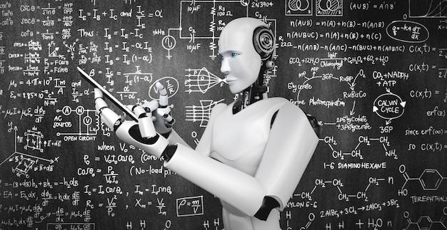 Robot-humanoïde gebruikt mobiele telefoon of tablet voor het studeren van technische wetenschappen