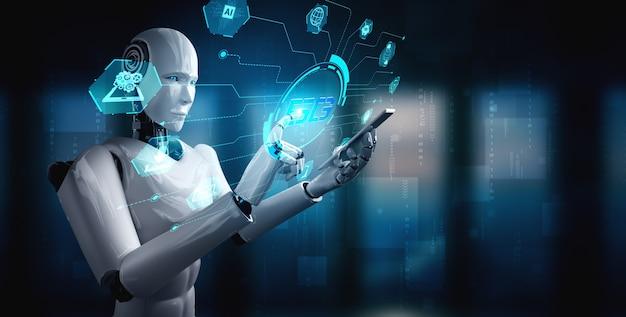 Robot-humanoïde gebruikt mobiele telefoon of tablet voor wereldwijde netwerkverbinding