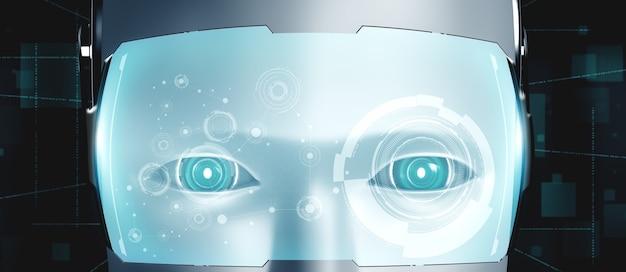 Robot humanoïde gezicht close-up met grafisch concept van ai-denkende hersenen