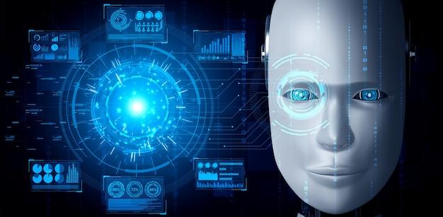 Robot humanoïde gezicht close-up met grafisch concept van big data-analyse