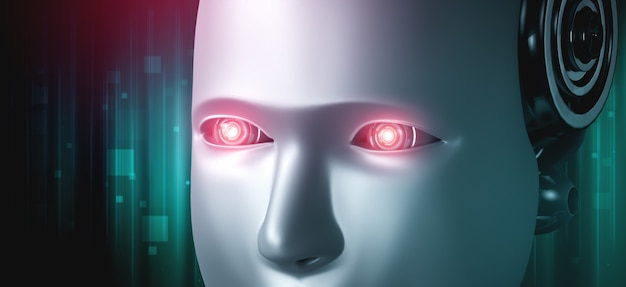 Robot humanoïde gezicht en ogen close-up 3d-rendering