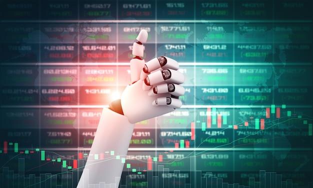 Robot humanoïde handen omhoog om het behaalde succes van geldinvesteringen te vieren