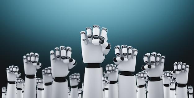 Robot humanoïde handen omhoog om het succes te vieren dat is bereikt met behulp van ai