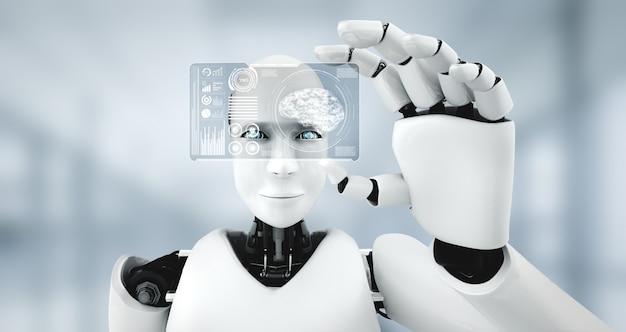Robot-humanoïde houdt hud-hologramscherm vast in concept van ai-denkend brein