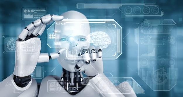 Robot-humanoïde houdt hud-hologramscherm vast in concept van ai-denkende hersenen
