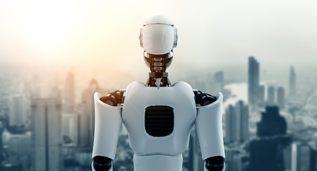 Robot humanoïde kijkt uit tegen de skyline van de stadsgezicht