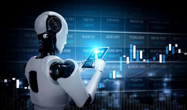 Robot humanoïde met behulp van tabletcomputer in concept van effectenbeurs