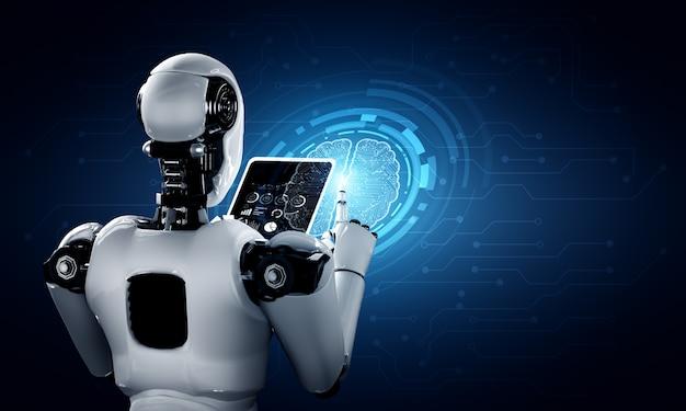Robot humanoïde met behulp van tabletcomputer in toekomstig kantoor