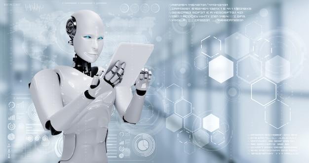 Robot humanoïde met behulp van tabletcomputer voor big data-analyse