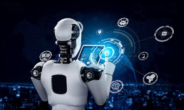 Robot-humanoïde met behulp van tabletcomputer voor wereldwijde netwerkverbinding met behulp van ai-denkbrein