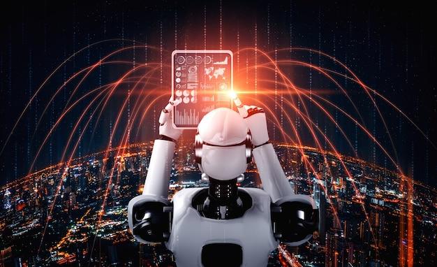Robot humanoïde met behulp van tabletcomputer voor wereldwijde netwerkverbinding