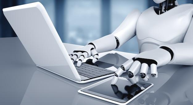 Robot-mensachtige gebruikt laptop en zit aan tafel in toekomstig kantoor
