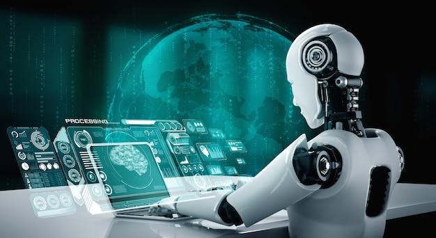 Robot-mensachtige gebruikt laptop en zit aan tafel voor big data-analyse