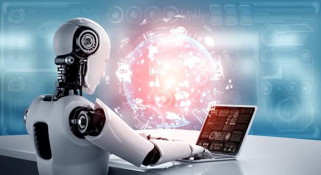Robot-mensachtige gebruikt laptop en zit aan tafel voor wereldwijde netwerkverbinding