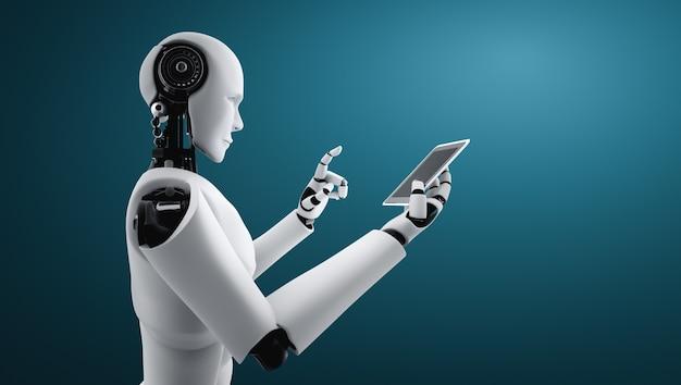Robot-mensachtige gebruikt mobiele telefoon of tablet in toekomstig kantoor