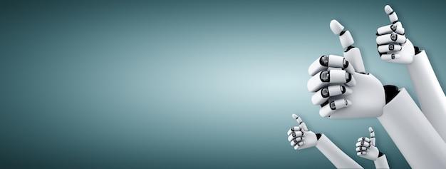 Robot-mensachtige handen omhoog om het succes van de doelen te vieren die zijn bereikt door ai te gebruiken