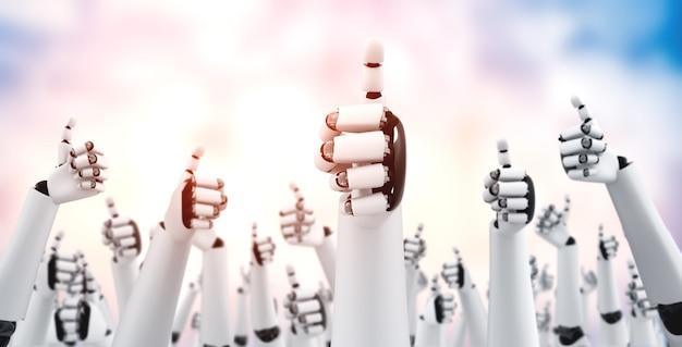 Robot-mensachtige handen omhoog om het succes van doelen te vieren die zijn bereikt door ai te gebruiken