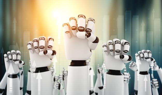 Robot-mensachtige handen omhoog om succes te vieren dat is bereikt door ai te gebruiken