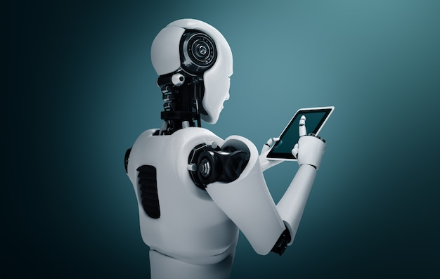 Robot mensachtige met behulp van tabletcomputer in toekomstig kantoor