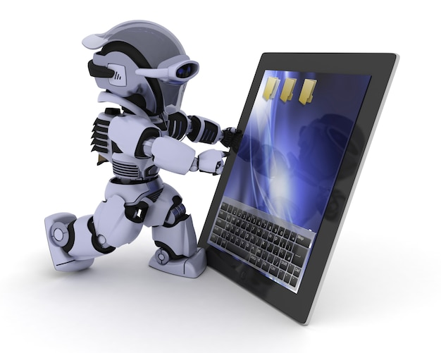 Robot met een digitale tablet